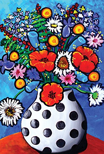 (Toland Home Garden Polka Dot Vase Bouquet 12.5 x 18 Inch Decorative Colorful Flower Garden Flag)
