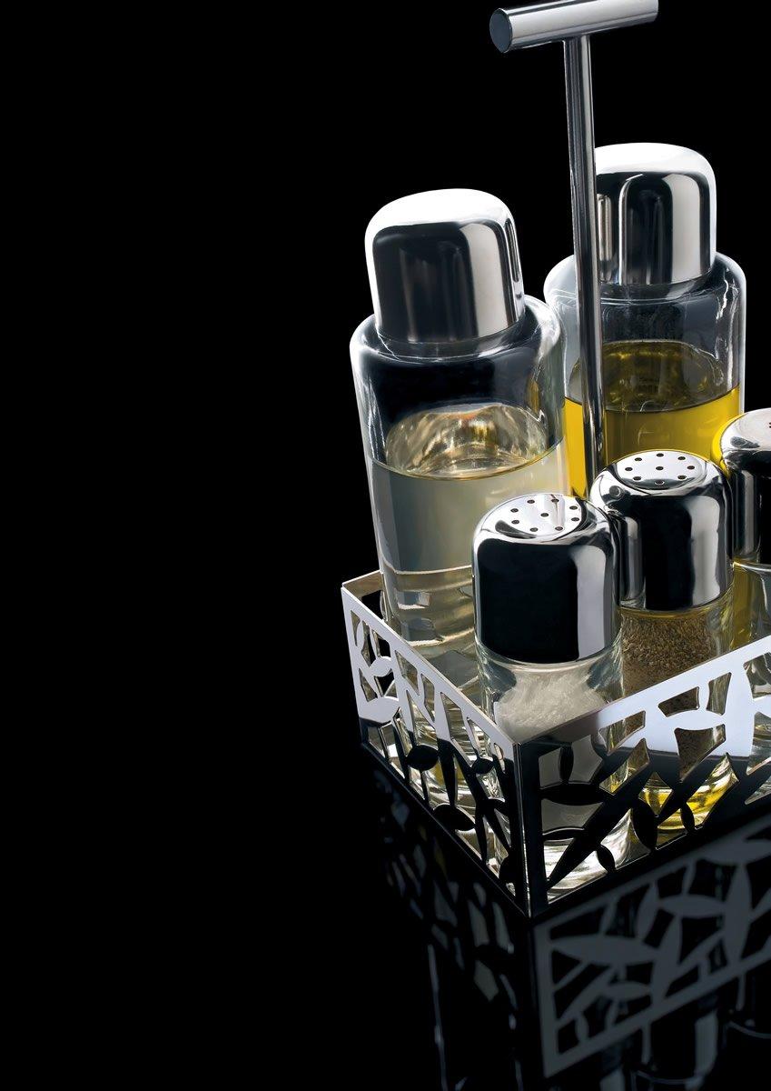 CACTUS pepe e spezie in acciaio inossidabile 18//10 lucido e vetro. Alessi sale aceto Servizio per olio MSA16