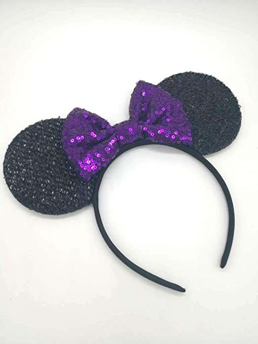 Minnie Mouse Headband New Sparkly Shiny Purple Ears Big Silver Sequin Bow Party
