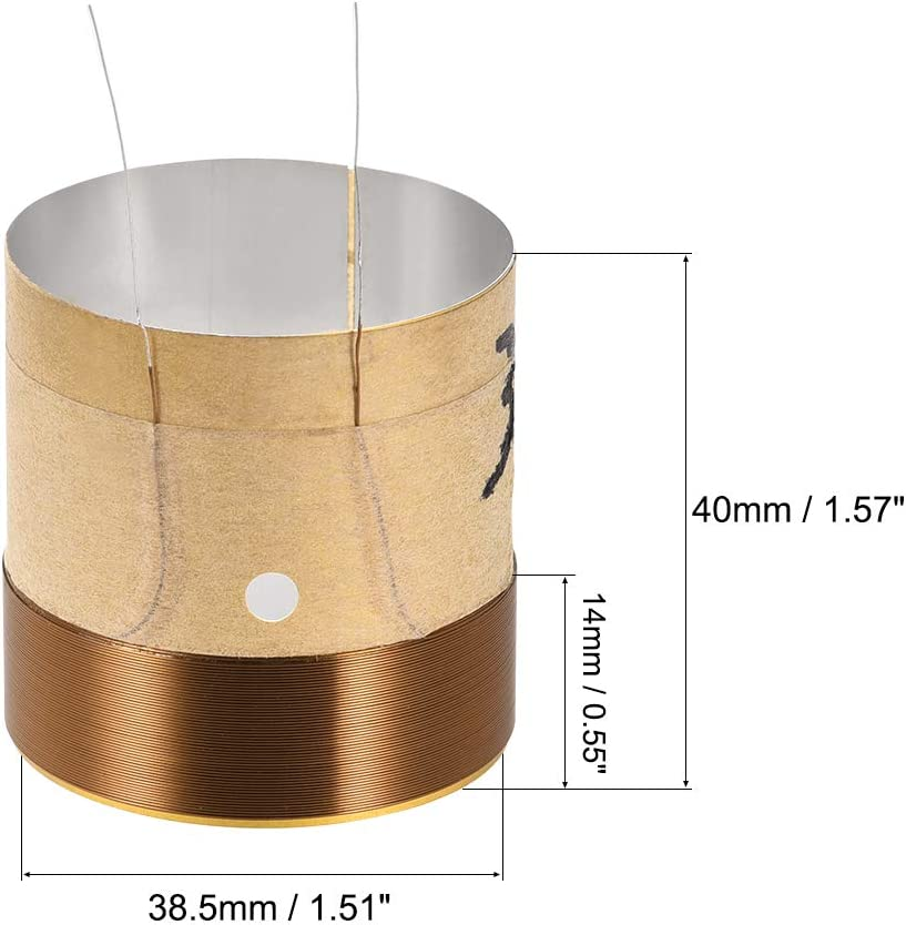 uxcell 2pcs 38.5mm 1.5 Woofer Voice Coil 2 Layers Round Copper Wire Bass Speaker Audio Replacement