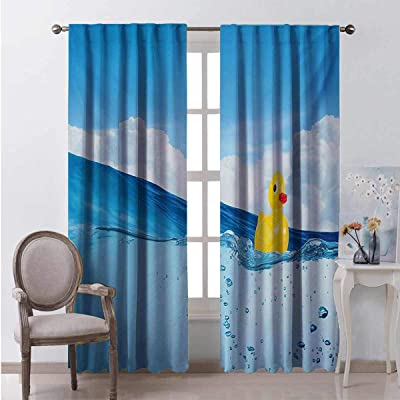 Rubber Duck 99% Blackout Curtains Little Duckling Toy Swimming in Pond Pool Sea Sunny Day Floating on Water for Bedroom Kindergarten Living Room W96 x L84 Inch Blue and Yellow: Home & Kitchen