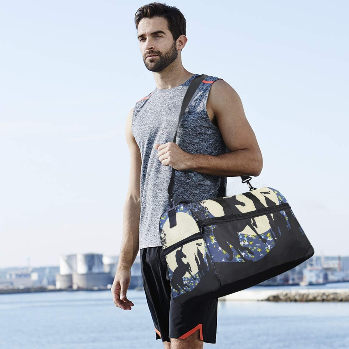 Castle And Unicorn Sports Gym Bag with Shoes Compartment Travel Duffel Bag for Men and Women