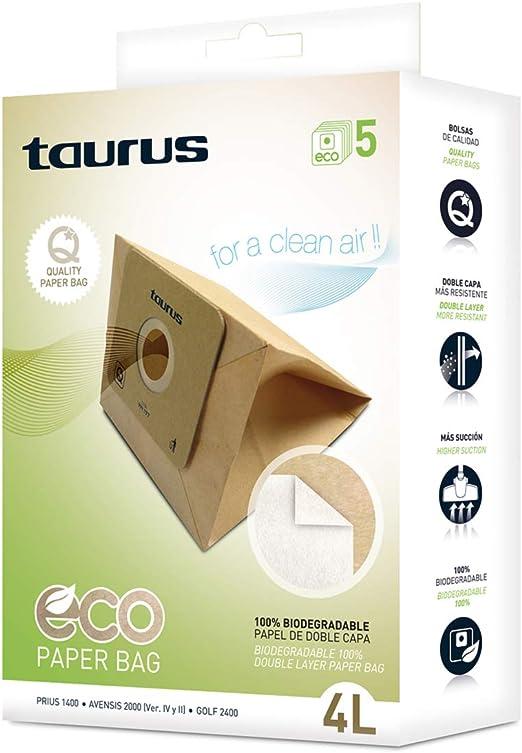 Taurus 999177000 Paquete de 5 bolsas de papel ECO para aspiradores ...