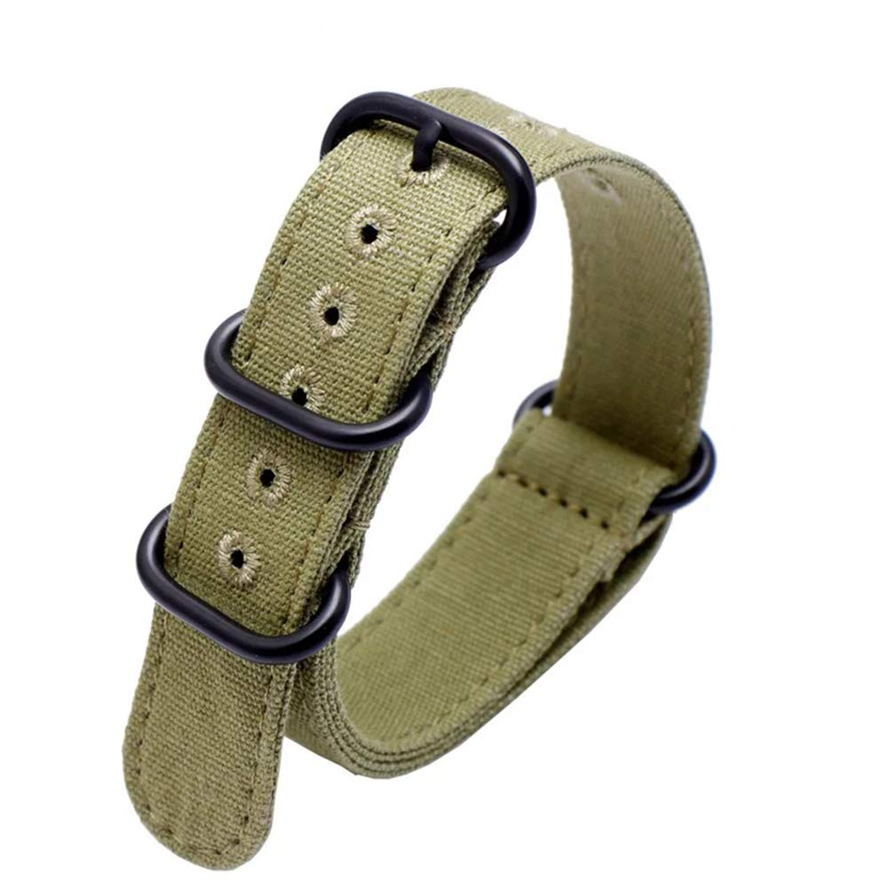 26mm Rugged Army Green Stitched Canvas Watch Strap for Men and Women NATO Straps with Vaccum Plating Black Buckle Cotton Canvas Watch Bands