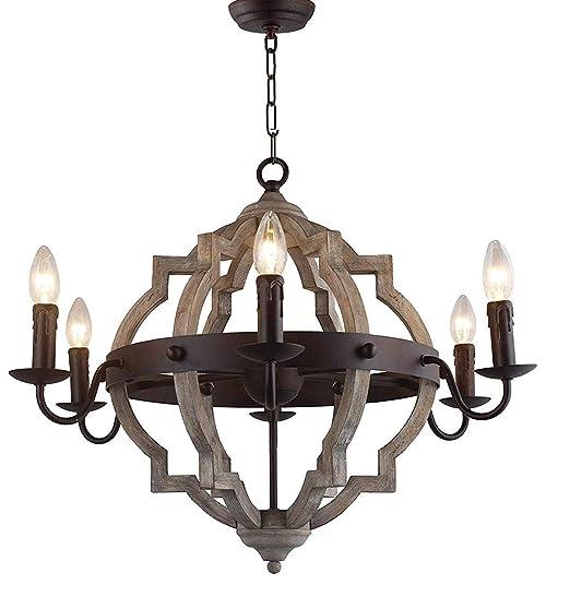 Amazon.com: Lámpara de techo de madera rústica grande de ...