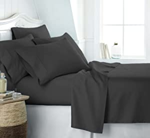 Simply Soft Ultra Soft 6 Piece Bed Sheet Set, King, Black