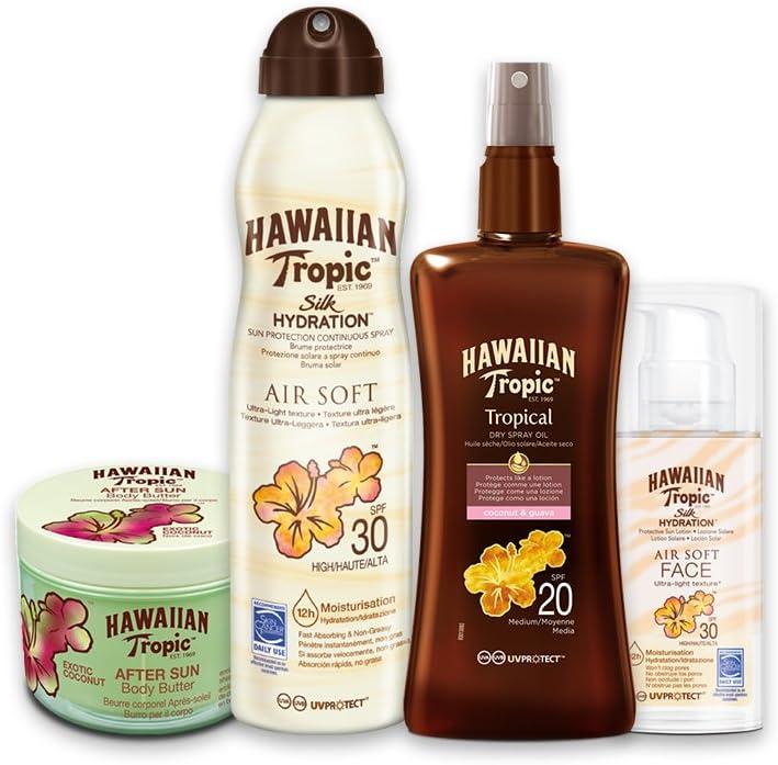 Hawaiian Tropic PACK Piel Intermedia - Kit con Aceite Seco Bronceador Spray SPF 20 + Bruma Solar Silk Hydration AirSoft SPF 30 + Crema Solar Facial SPF 30 + After Sun Body Butter Coco
