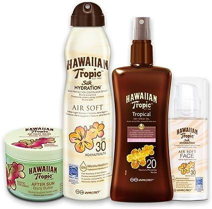 Hawaiian Tropic PACK Piel Intermedia - Kit con Aceite Seco Bronceador Spray SPF 20 + Bruma Solar Silk Hydration AirSoft SPF 30 + Crema Solar Facial SPF 30 + After Sun Body Butter Coco: Amazon.es: Belleza