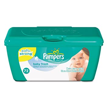 Pampers 28248EA Baby Fresh Wipes White Cotton 72/Tub