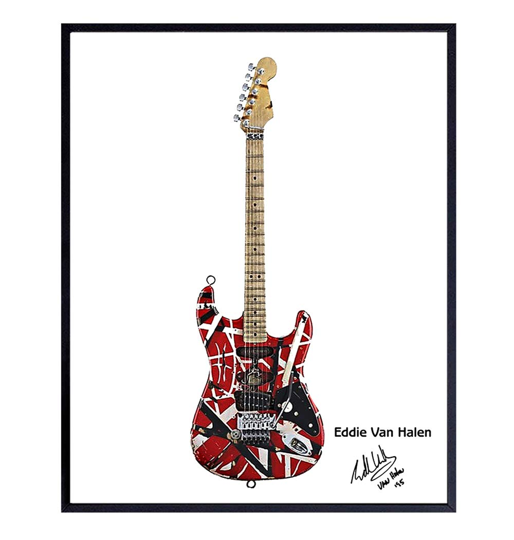 Amazon Com Eddie Van Halen Guitar Art Print Wall Art Poster Unique Home Decor And Great Inexpensive Gift For Musicians And Eighties 80s Music Fans 8x10 Photo Unframed Handmade