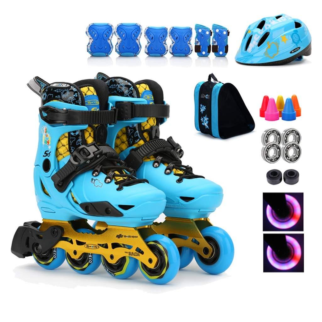 TKW 調節可能なインラインスケート靴、プロスピードスケート靴、初心者学生セットシングルクワッドローラースケート靴、(ピンクブルー) (Color : Blue, Size : L(EU37-40)) L(EU37-40) Blue B07T5Y78ZY