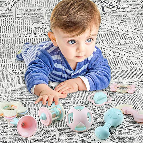 EFOSHM 10PCS Baby Rattles Teether Set, Grasping Grab Toy, Spin Shaking Bell, Sensory Teether Rattle, Boiled Disinfection BPA Set for Infant Newborn Baby Toddler by EFOSHM (Image #5)
