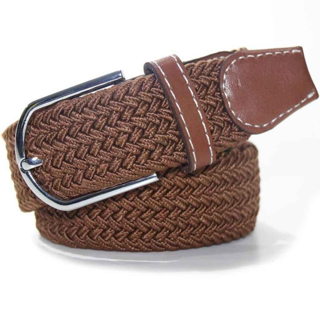 Bobury Para los hombres / mujeres de color sólido de goma elástica Cinturón de aleación de hebilla de cintura tejida