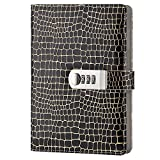 GardenHelper A5 Size PU Leather Password Lock Diary, Creative Password Diary Student Handbook Notepad Locking Journal Diary (Black)