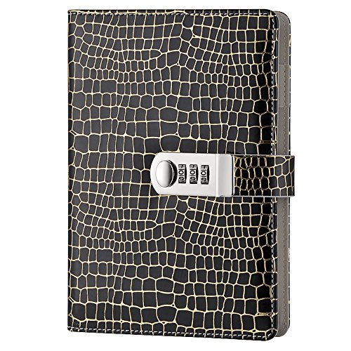 GardenHelper A5 Size PU Leather Password Lock Diary, Creative Password Diary Student Handbook Notepad Locking Journal Diary (Black) by GardenHelper