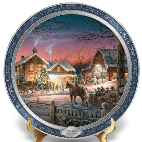 - Terry Redlin 120th Anniversary Collector Plate: Trimming The Tree - By The Bradford Exchange