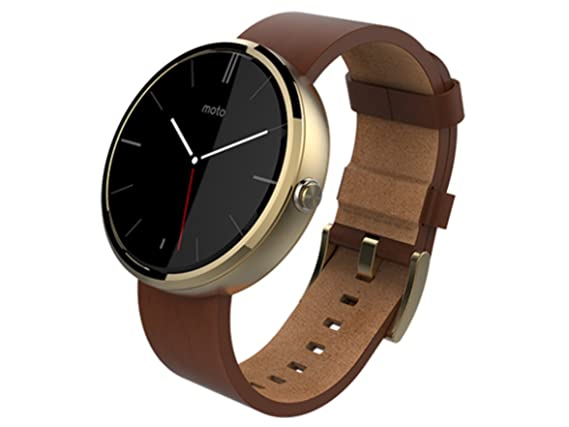 Amazon.com: Motorola Moto 360 Smart Watch, coñac piel/Champán