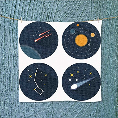L-QN swim towelspace stars constellations galaxies and comets solar system vector flat Super Soft W19.7 x W19.7 by L-QN