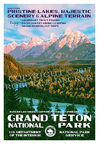 Grand Teton National Park Poster - Original Artwork by Rob Decker - Wpa Style