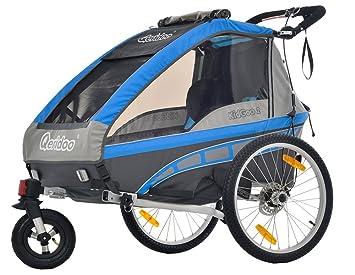 Qeridoo Jumbo 2 niños de remolque de bicicleta (2 plazas), azul
