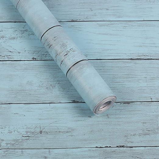 Autoadhesivo de madera rústica tablón de papel estante forro ...