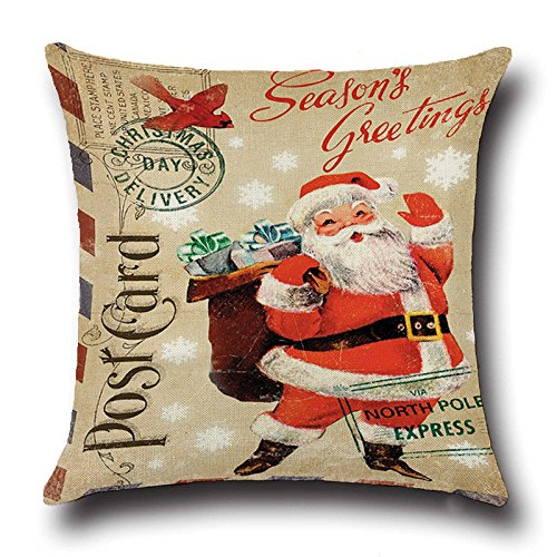 Christmas Decorative Santa Claus Pillow Cover Case,Throw Pillow Cover Decor,Decor for Xmas tree 18 x 18 inch 1pcs