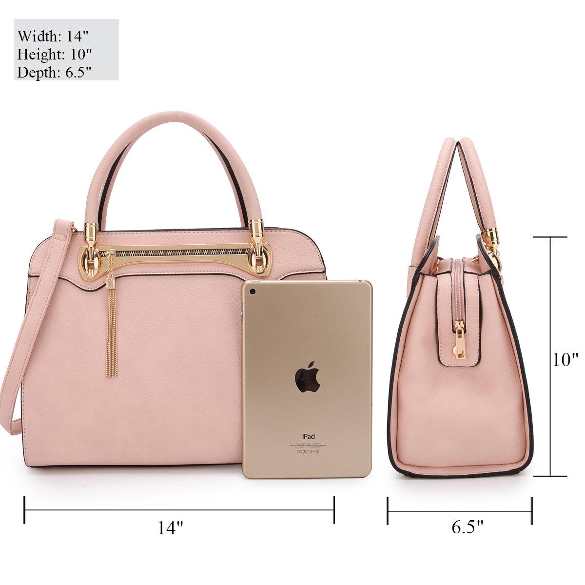 Women Structured Satchel Bags Vegan Leather Handbag Top Handle Purse Fashion Shoulder Bag with Fringed Tassel by Dasein (Image #2)