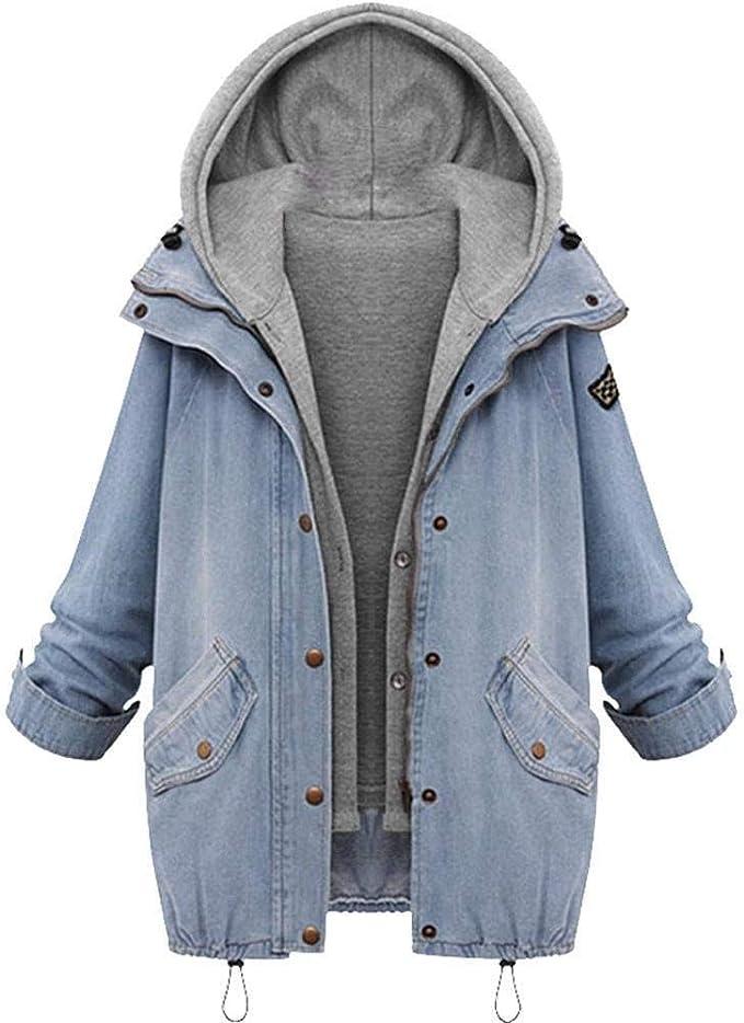 YBIRAL Damen Jeansjacke Winterjacke Blazer Langarmshirt 2 in