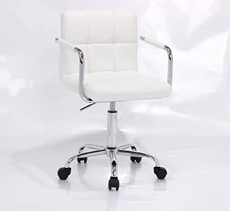 PU Leather Hydraulic Lift Adjustable Height Swivel Office Desk Chair White 1013 5