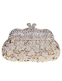 Santimon Women Clutch Kisslock Purses Mini Size Rhinestone Flower Evening Bags with Removable Strap 3 Color