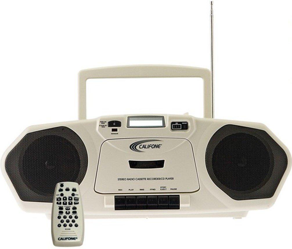 Califone 2385AV-03 2385-03 Single Cassette with MP3 Boombox, Black/Beige by Califone