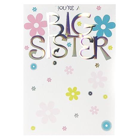 Amazon.com: Eres un Big Sister, nuevo bebé tarjetas de ...