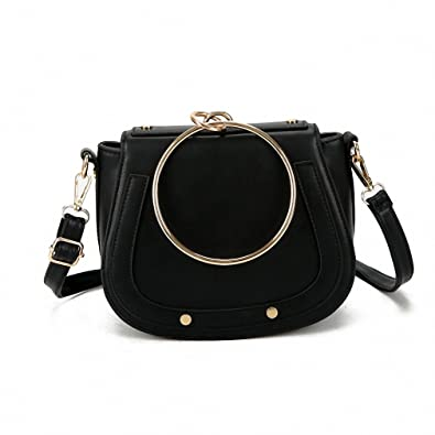 Designer Small Handbags Leather Women Bags Pu Metal Ring Handle PkXZiOuT