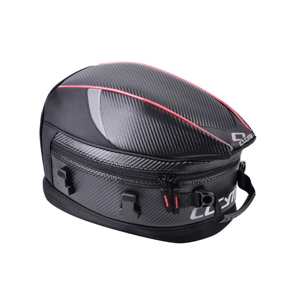 WOSAWE Motorcycle Rear Seat Bag Large Capacity Storage Tank Bag PU Leather Motorbike Tail Bag with Waterproof Bag Cover Red