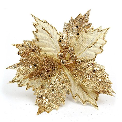 Hot Sale!!!Wedding Party Home Decor,Xmas Tree Decorations Glitter Hollow Christmas Flowers - Christmas Flowers