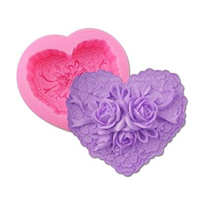 Silicona 3D Rose Love Shape Mold Cake Decorating Chocolate Sugar Craft Molde-Herramientas De Hornear