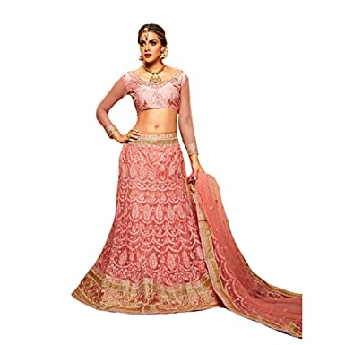 d33a197b40 Amazon.com: Festival Offer Pink Bridal Indian Designer Lehenga Choli  Dupatta Skirt top Custom to Measure party wear women 722 2: Clothing
