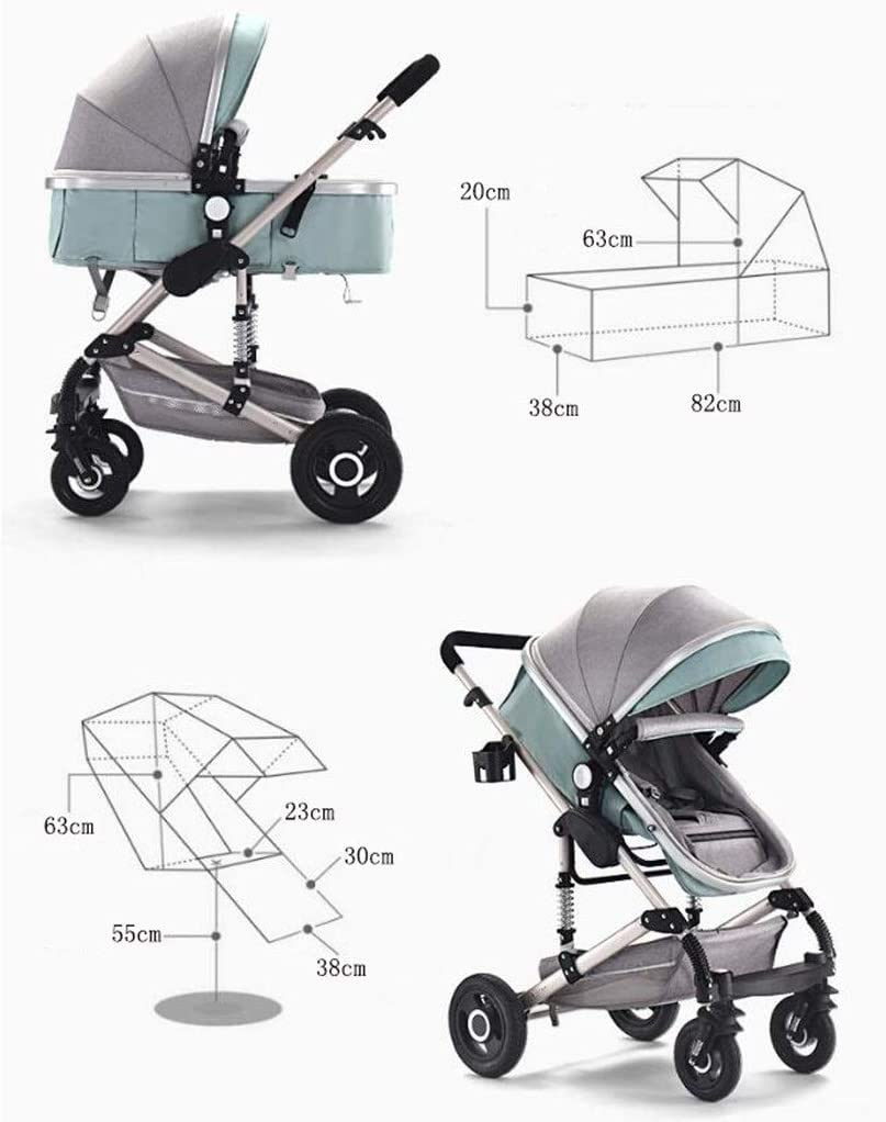 MAOSF Pushchairs Pushchair 3-in-1 Baby Stroller Color : Brown High-Capacity for Sitting and Lying Down Two-Way Toddler Armchair with Baby Cot Combo Strollers 0-3 Years
