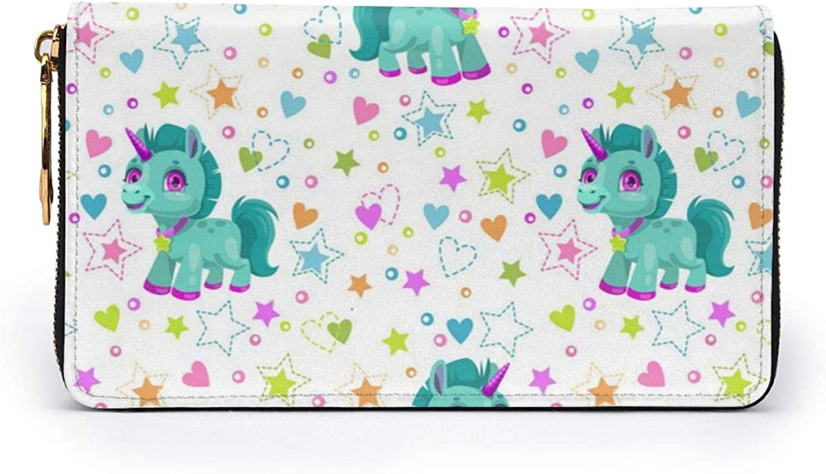 Seamless Pattern With Cute Cartoon Little Unicorn Leather Zipper Clutch Bag Wallet Large Capacity Long Purse For Women Personalized