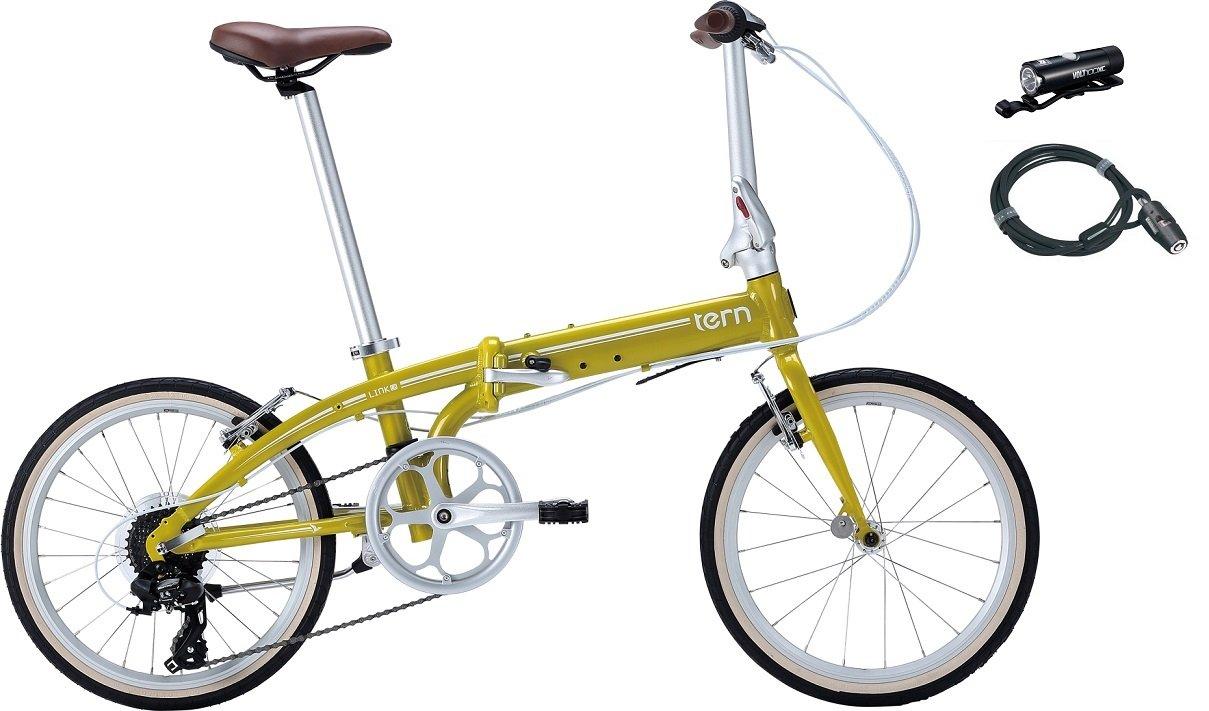 2017年モデル Tern【ターン】 Link C8 20インチ 折畳み自転車 +フロントライト、ロングワイヤー錠 B01MFFUTDAカメレオンイエロー×ホワイト
