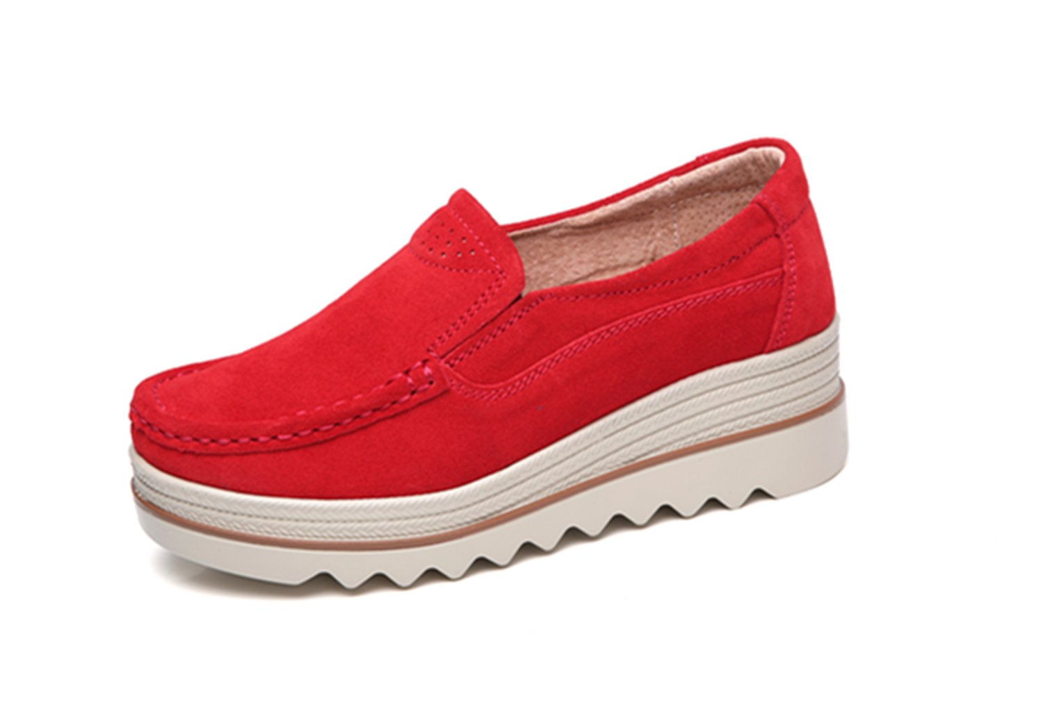 Dhiuow Platform Shoes Women Slip on Loafers Suede Wedge Shoes Comfortable Sneakers for Ladies B07BXNDWQD 8.5 B(M) US|Red