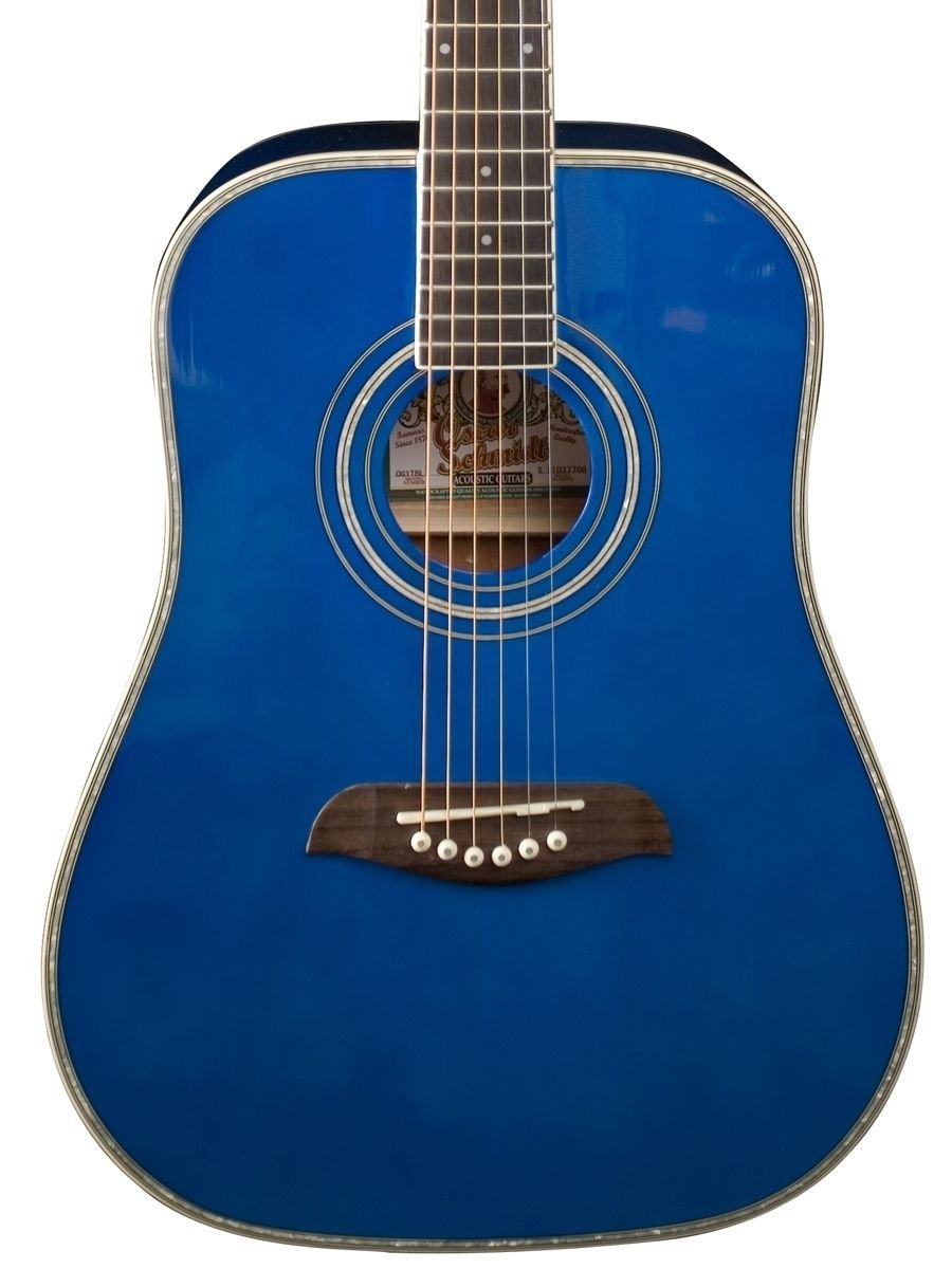 Oscar Schmidt OG1TBL Blue 3/4 Size Dreadnought Guitar W/Clip-on Tuner and More