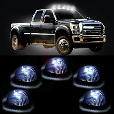 cciyu 5 PackCab Roof Top Marker Smoke 264141BK Running Lamps w/White LED Light Bulbs Replacement fit for Replacement fit for Truck Pickup 4x4 SUV (smoke cab marker lens white light): Automotive