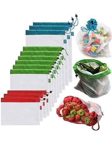 c2f15cdd2 AYUTOY 12 Unidades Bolsas de la Compra Reutilizables Ecológicas Bolsa de  Malla para Almacenamiento