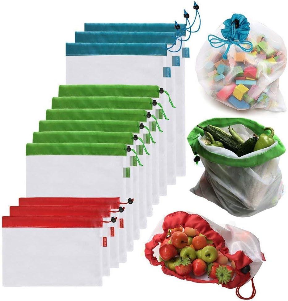 AYUTOY 12 Unidades Bolsas de la Compra Reutilizables Ecológicas Bolsa de Malla para Almacenamiento Fruta Verduras Juguetes Lavable y Transpirable 3 Diversos Tamaños