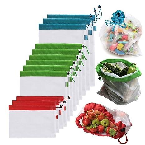 AYUTOY 12 Unidades Bolsas de la Compra Reutilizables Ecológicas Bolsa de Malla para Almacenamiento Fruta Verduras Juguetes Lavable y Transpirable 3 ...