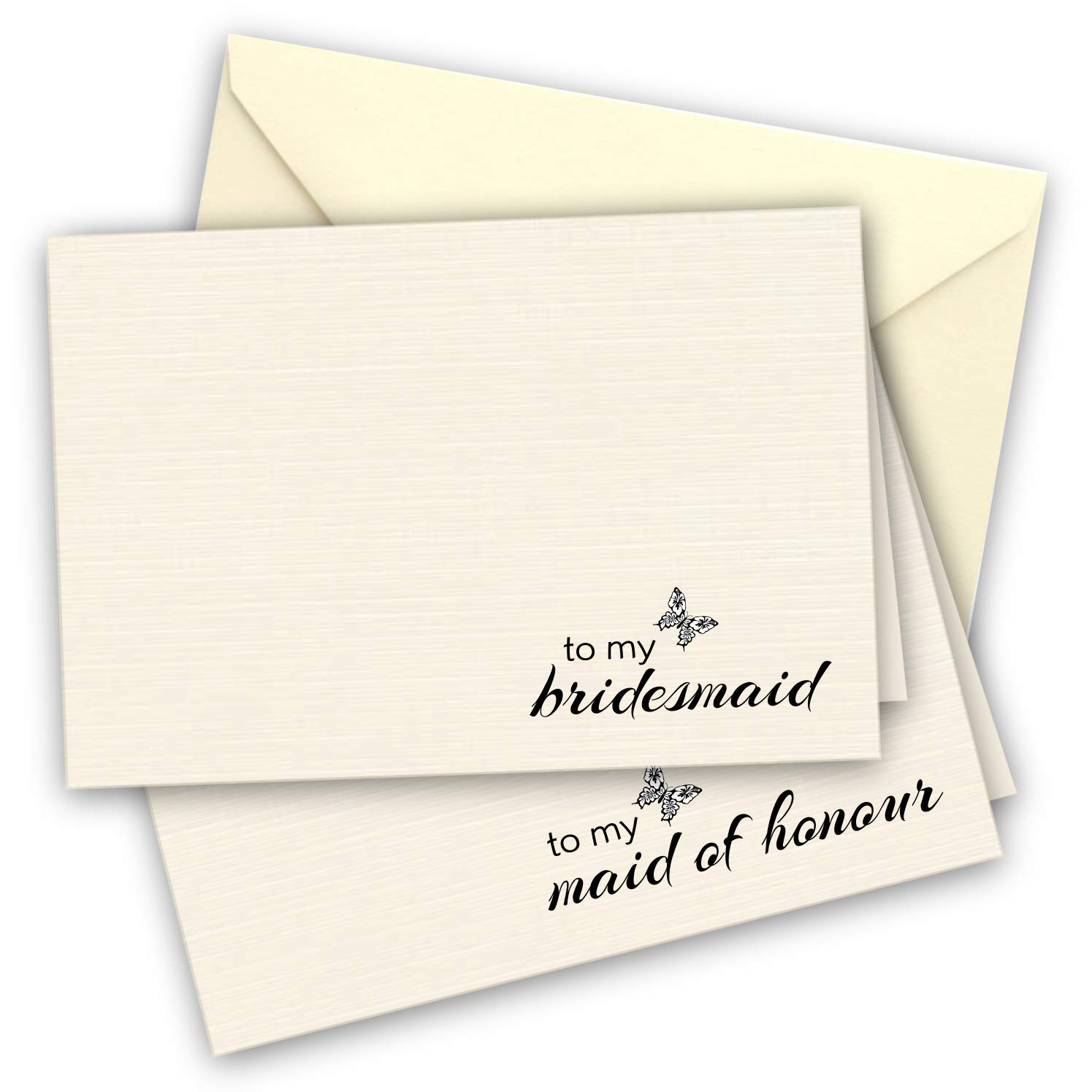6 Ivory Bridal Thank You Note Cards to Bridesmaid x 5 and to Maid of honour x 1 with ivory envelopes