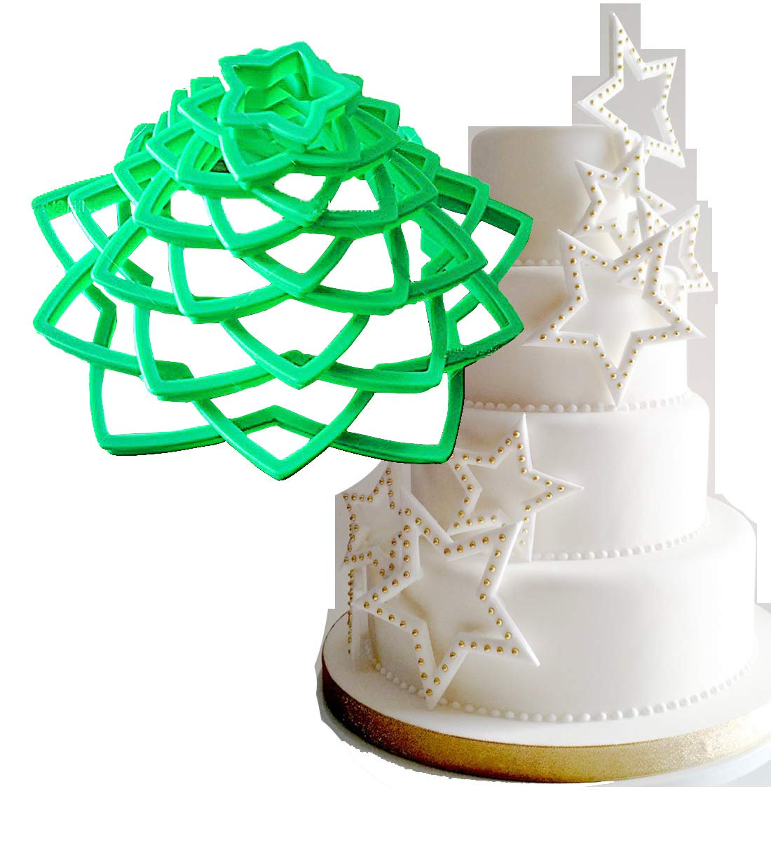 Anyana 10 Pcs set 3D Star Decoration Cutter Cookie Biscuit Set for Gift Christmas Tree dt018b
