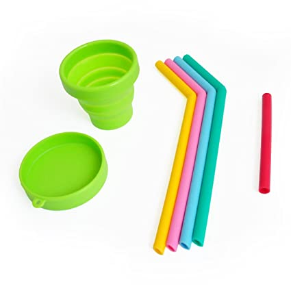 a3afcbf9513 Reusable Drinking Straws For Kids, Bonus Collapsible Cup and Small  Replacement Straw ToGo, Silicone