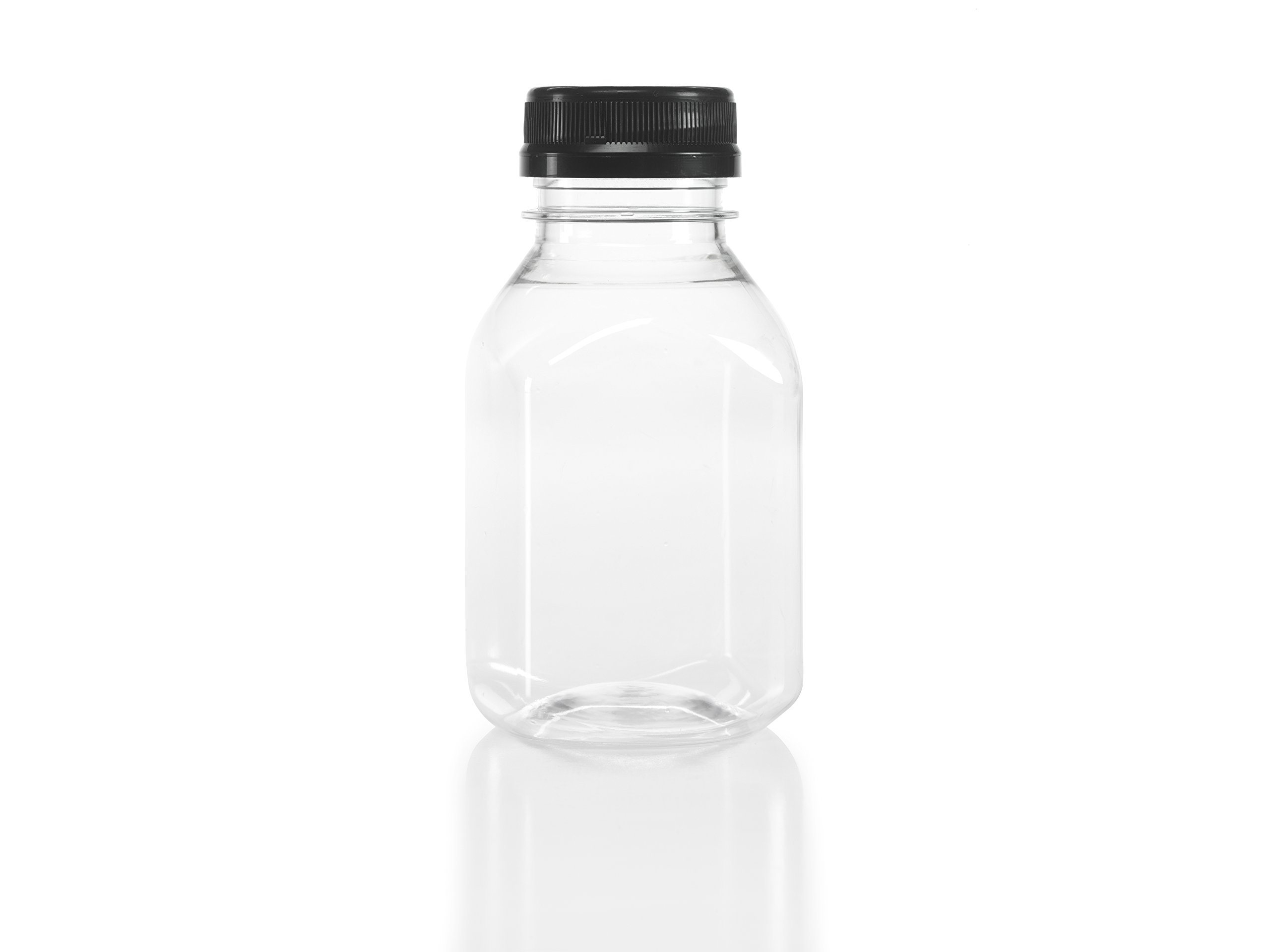 (50) 8 oz. Clear Food Grade Square Plastic Juice Bottles with Black Tamper Evident Caps 50/Pack